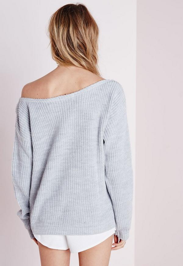 Knitting Pattern For Off Shoulder Sweater : Ophelita Off Shoulder Knitted Jumper Grey Missguided