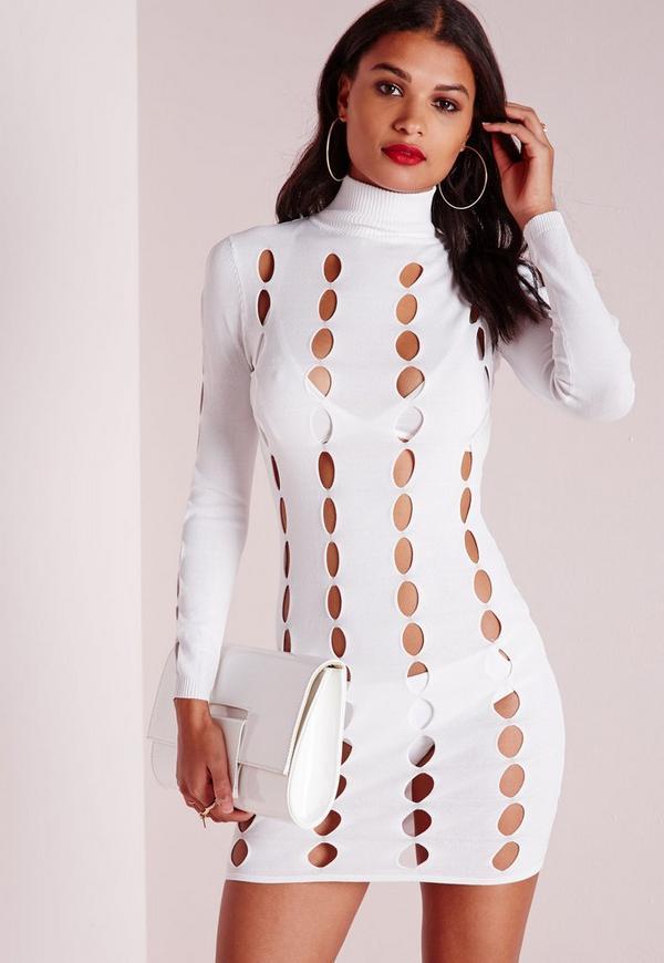 Peep Hole Mini Dress White