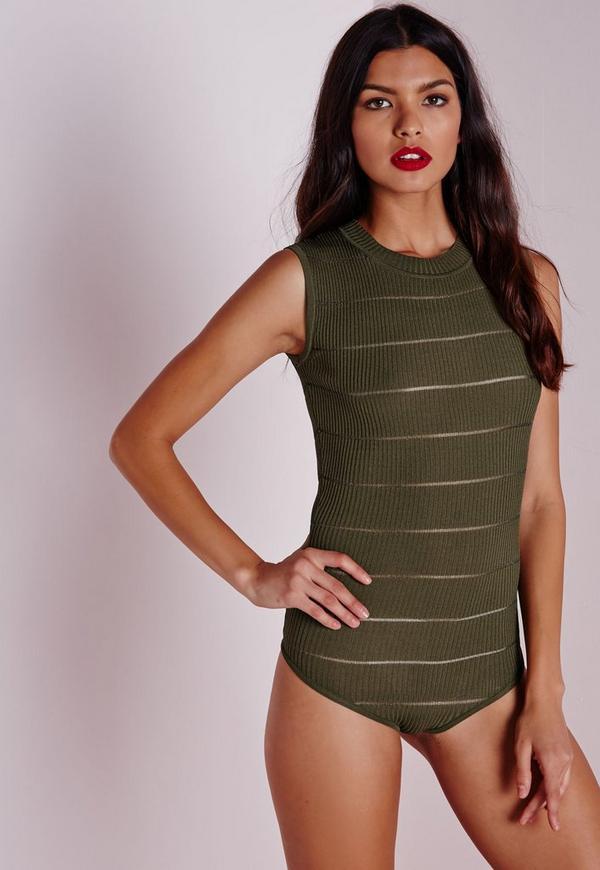 Sheer Stripe Knitted Bodysuit Khaki