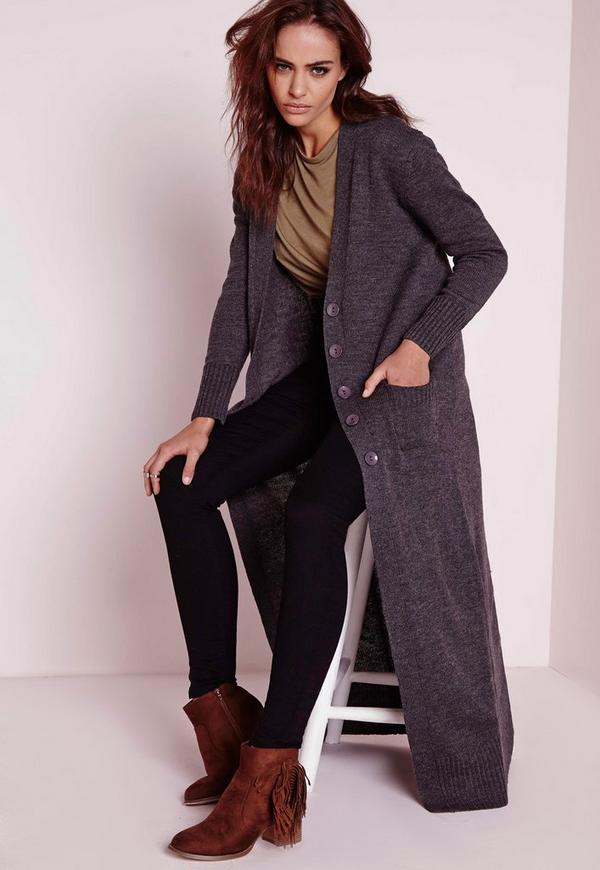 Chunky Longline Cardigan Grey | Missguided