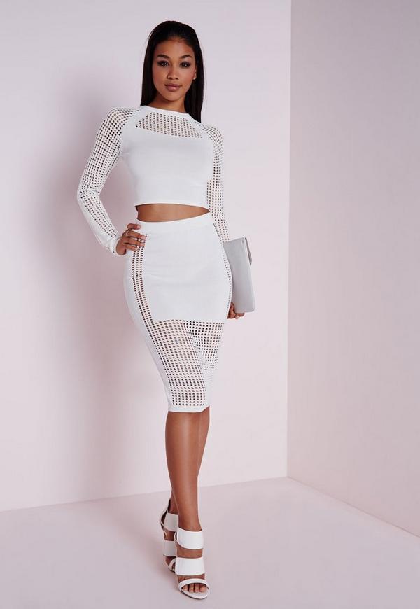Mesh Panel Knitted Skirt White