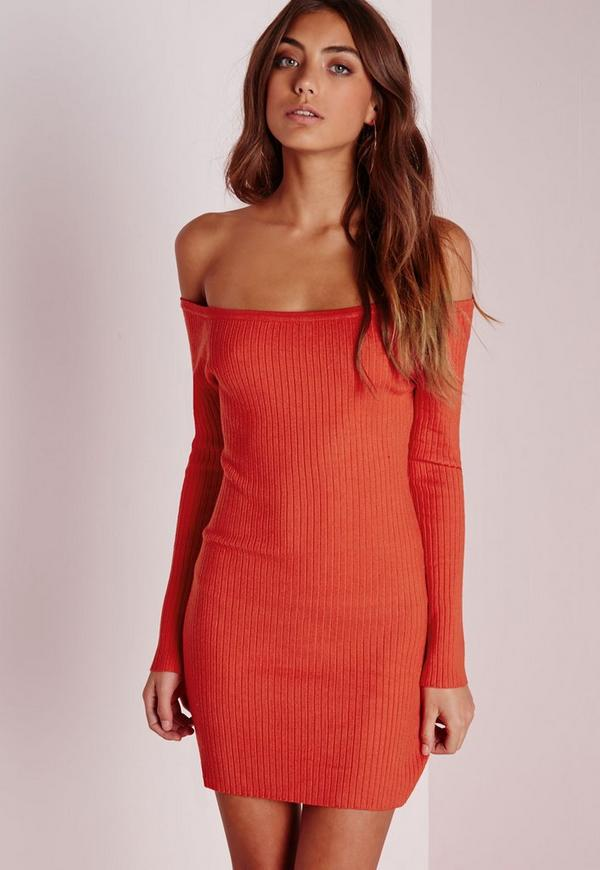 Off Shoulder Ribbed Knitted Dress Red