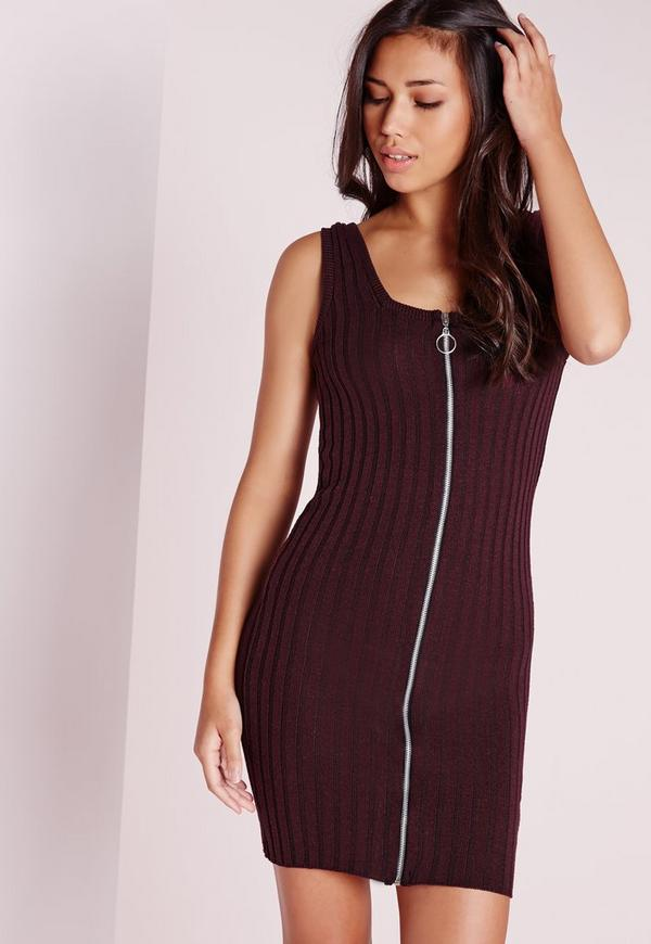 zip through ribbed knitted dress purple