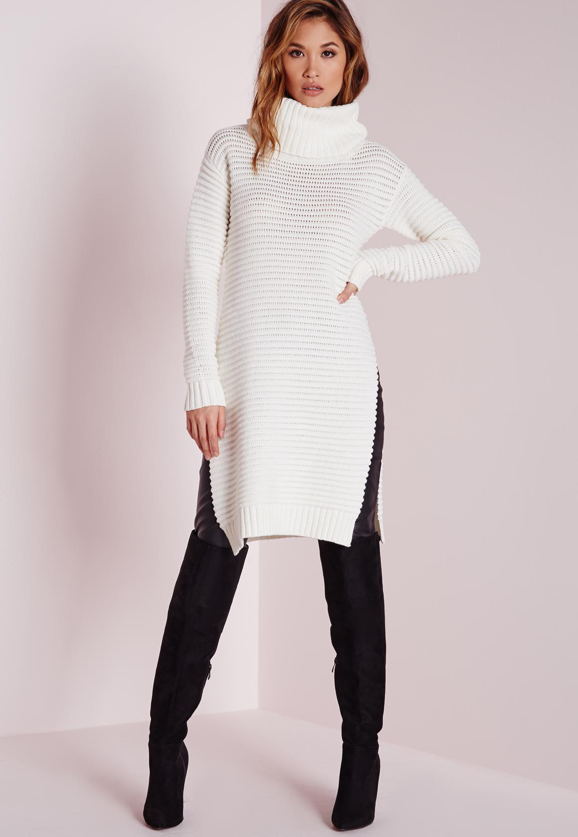 Knitted Chunky Turtle Neck Sweater Cream | Missguided