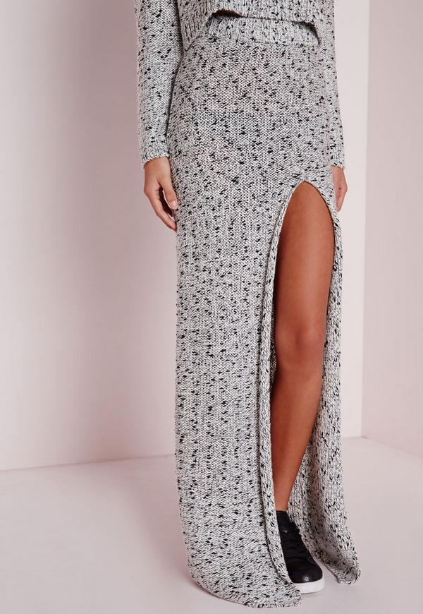 Chunky High Split Knitted Maxi Skirt Grey | Missguided