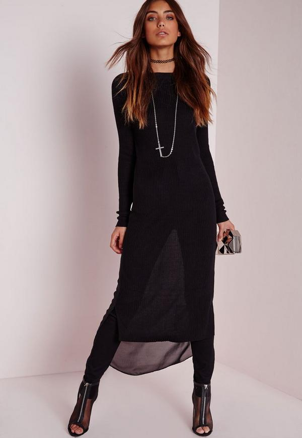 Sheer Back Drop Hem Knitted Dress Black