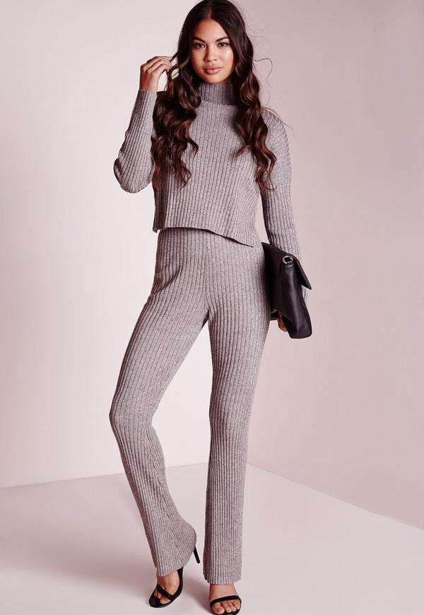 Knitted Flare Trousers Taupe