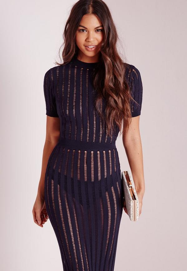 Sheer Stripe High Neck Crop Top Navy