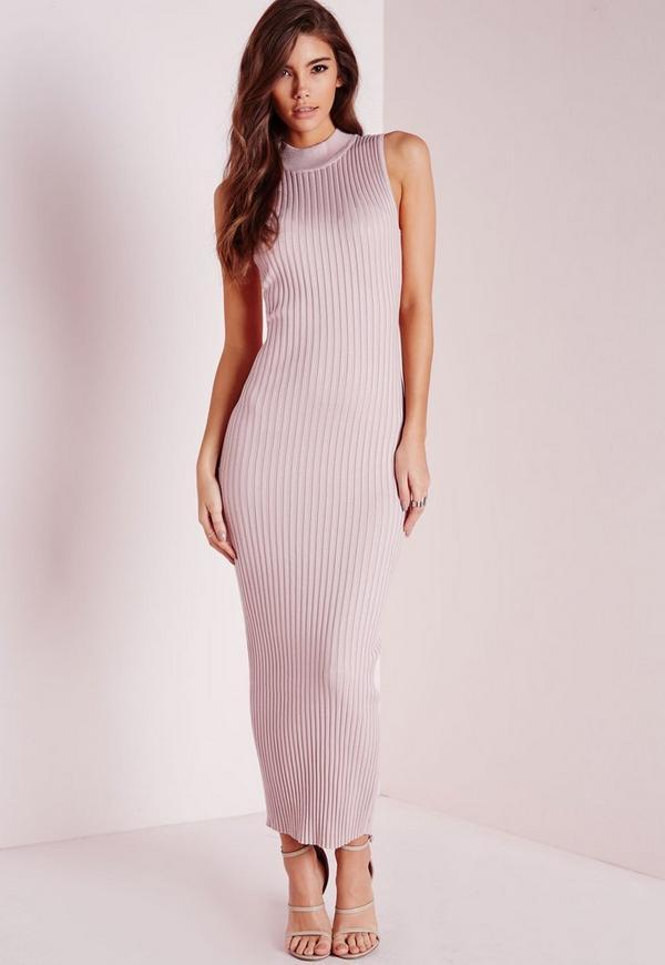 Maxi Knitted Rib Dress Pink
