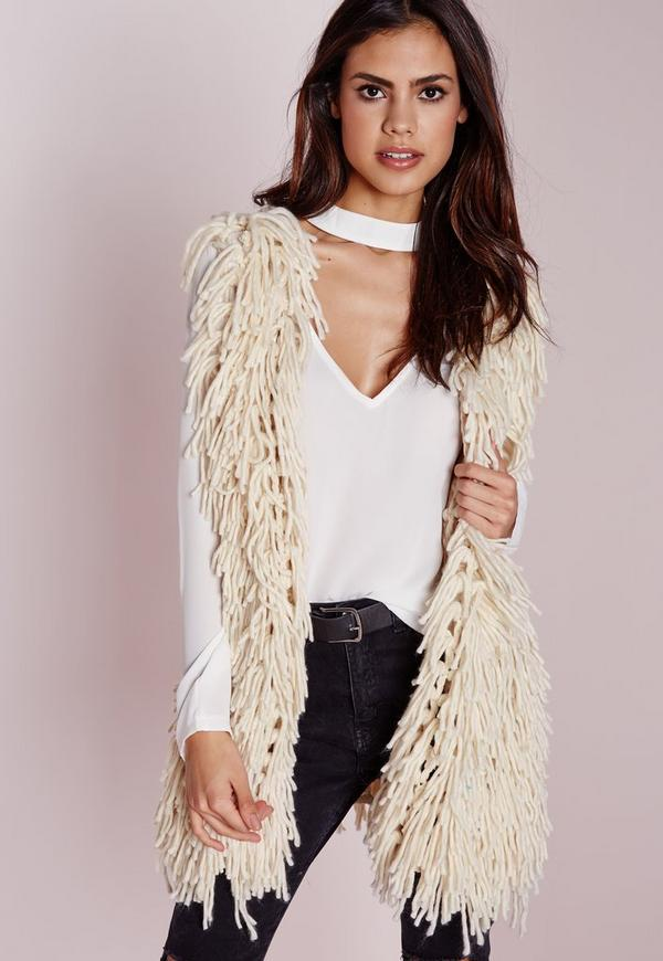 Shaggy Gilet Cream
