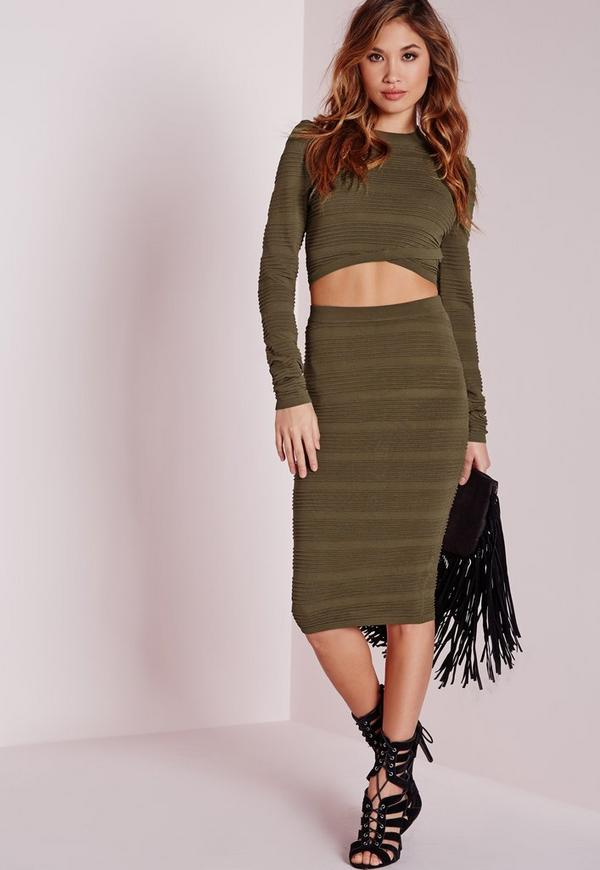 Knitted Rib Midi Skirt Khaki