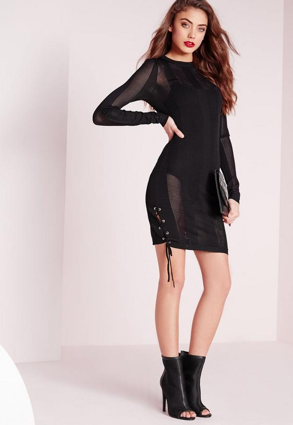 ribbed tie side knitted mini dress black