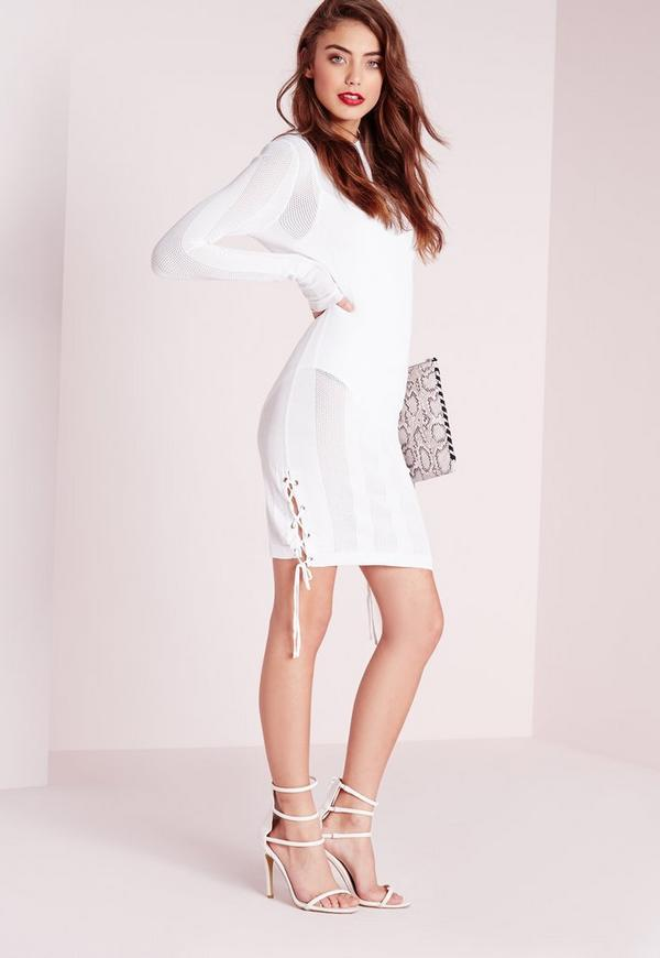 Ribbed Tie Side Knitted Mini Dress White