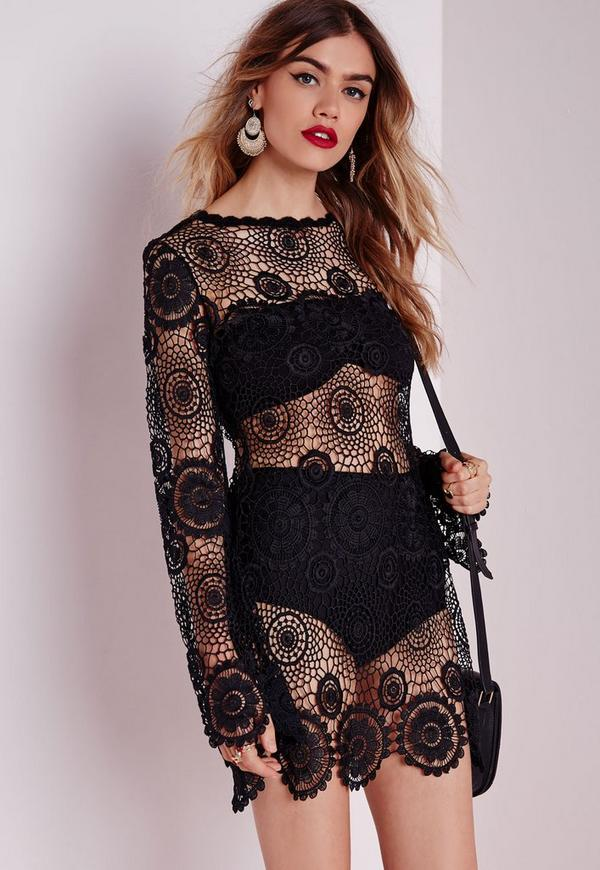Crochet Knitted Swing Dress Black