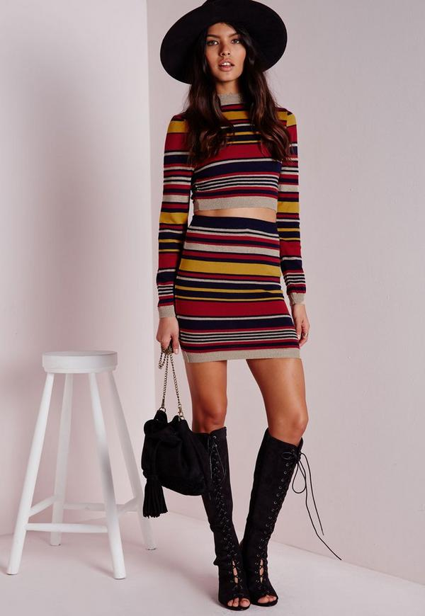 Lurex Knitted Striped Crop Jumper Multi