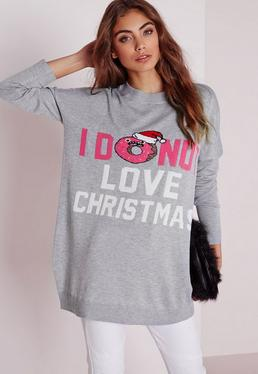 Donut Slogan Knitted Christmas Jumper Grey