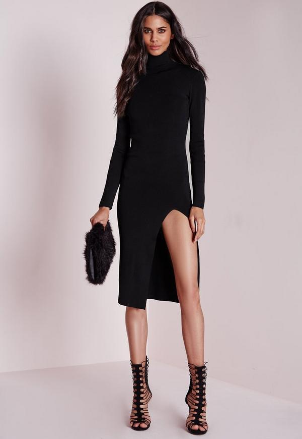 polo neck high split knitted midi dress black