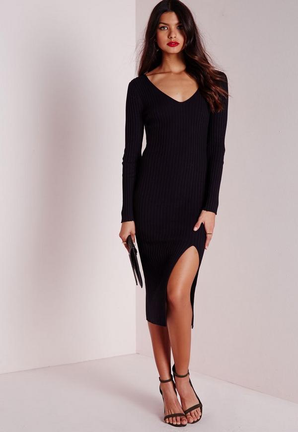 long sleeve split knitted midi dress black