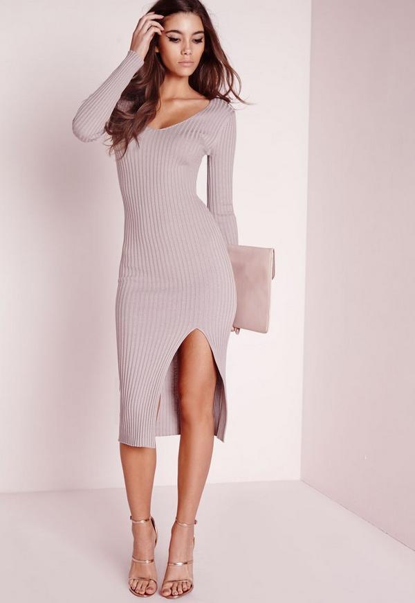 long sleeve split knitted midi dress mauve
