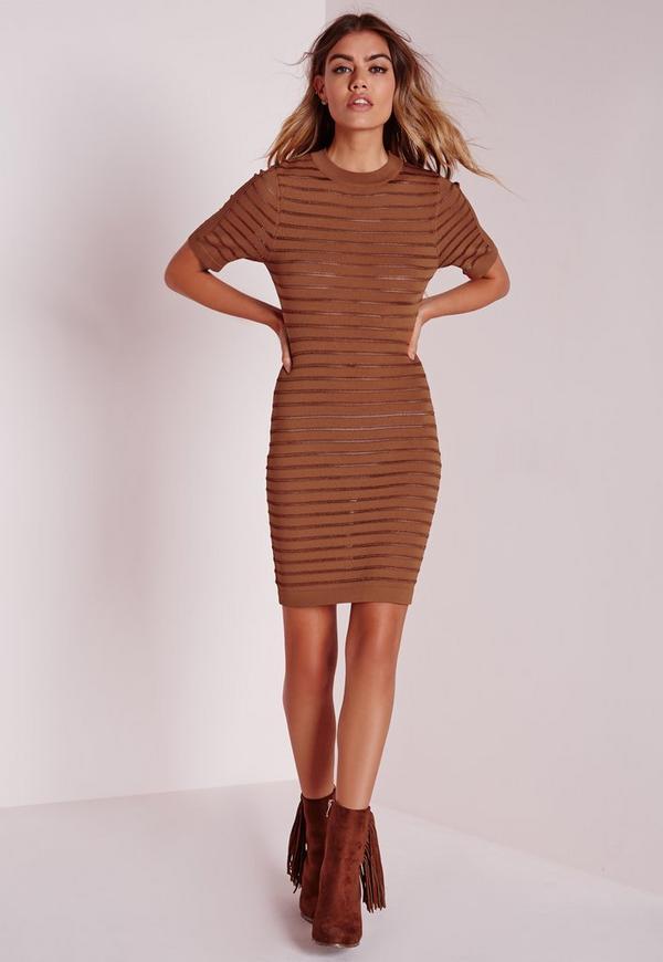Pointelle Stripe Crisp Knitted Midi Dress Tan