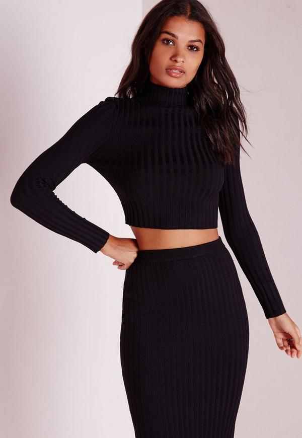 Long Sleeve Knitted Cropped Jumper