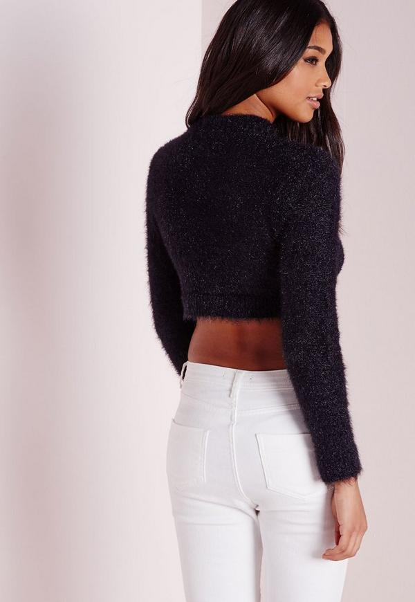 Fluffy Long Sleeve Cropped Sweater Black | Missguided
