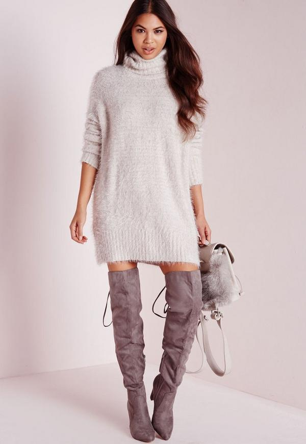 Fluffy Roll Neck Jumper Dress Grey Missguided