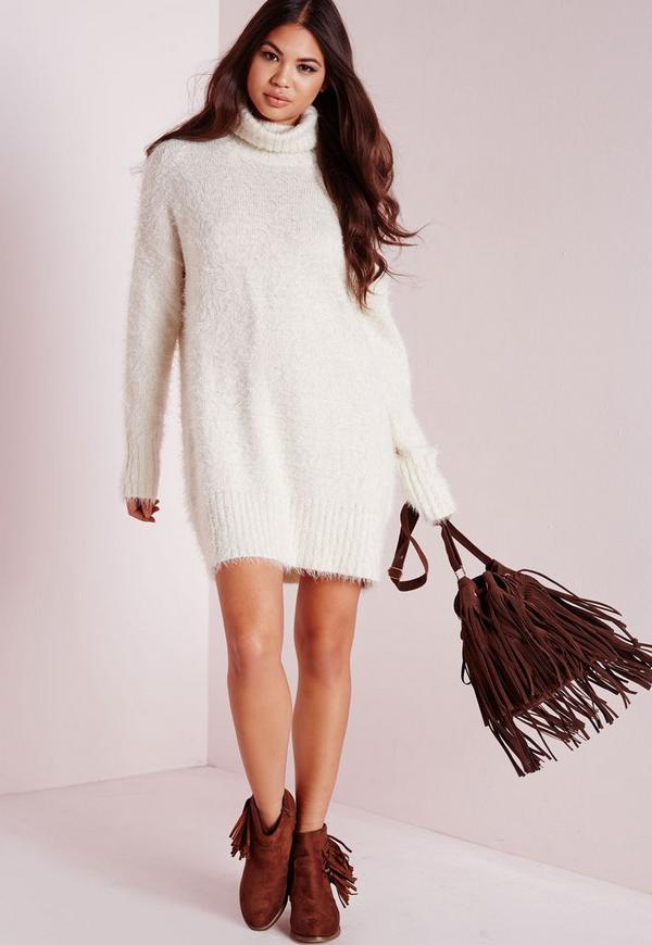Fluffy Roll Neck Jumper Dress Off White Missguided