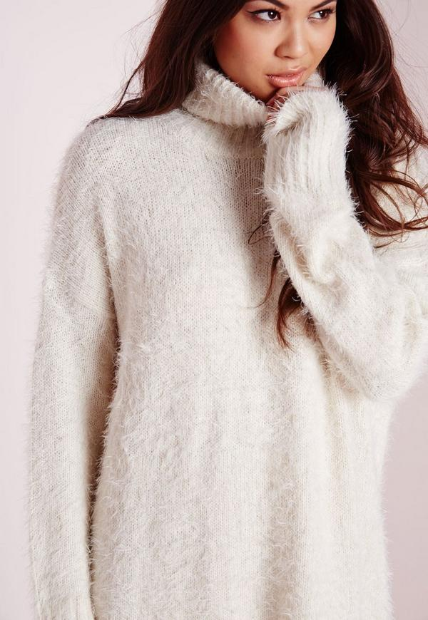 Fluffy Roll Neck Sweater Dress Off White | Missguided