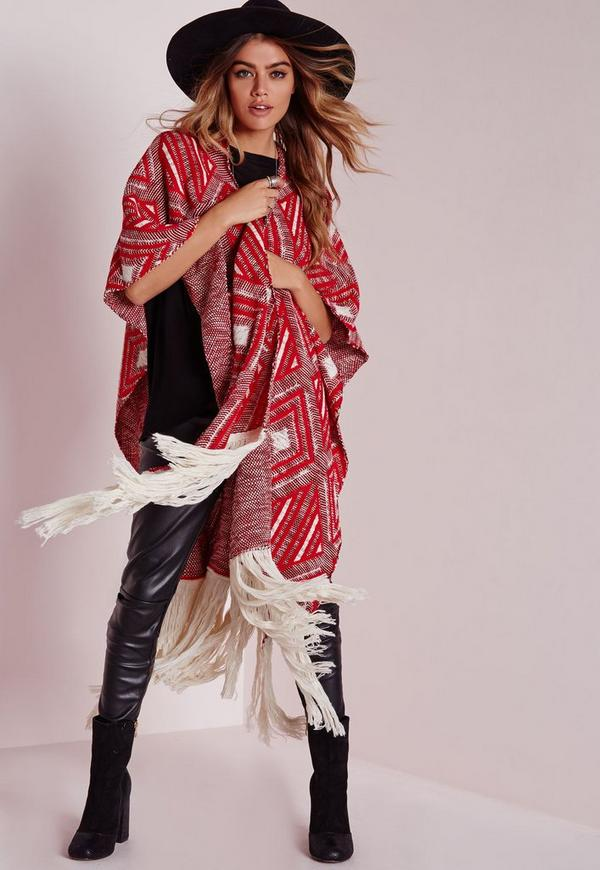 Diamond Fringed Poncho Red