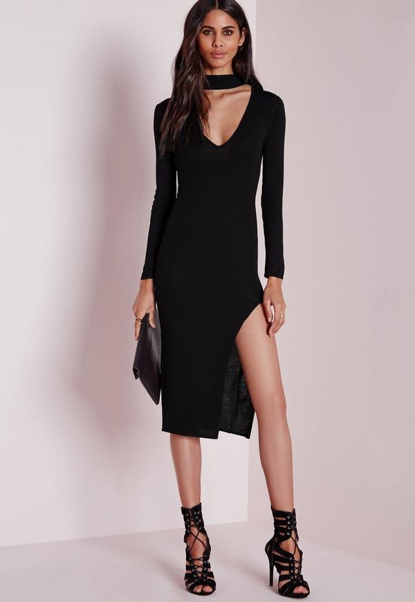ASOS DESIGN square neck scuba maxi dress with thigh split. $ Chi Chi London high neck lace midi dress with tulle skirt in black. $ PrettyLittleThing velvet wrap midi dress in pink. $ A Star Is Born Embellished Midi Dress with Tassel Detail. $