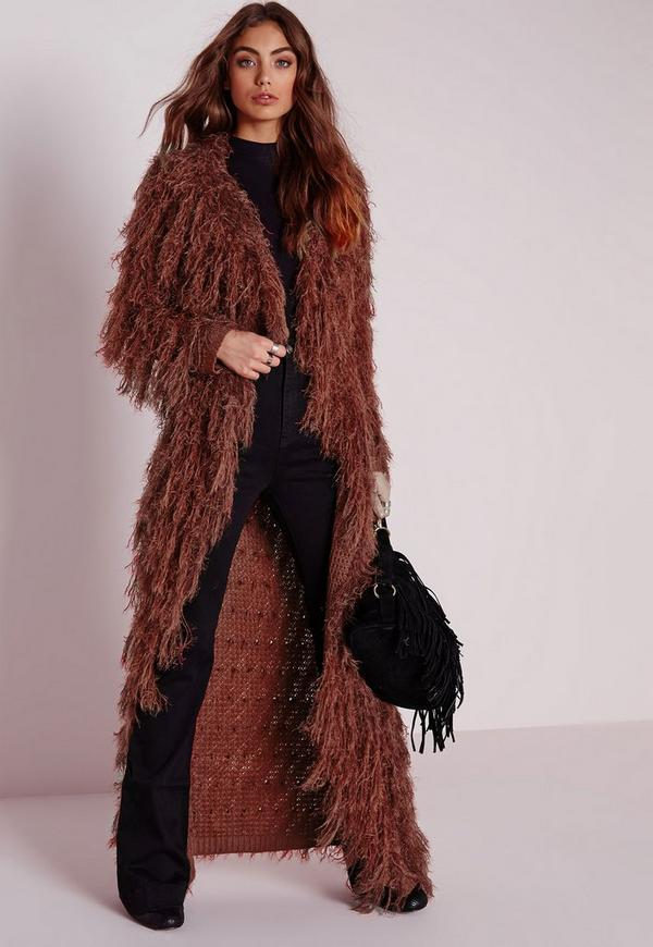 Hairy Midi Fine Hair Cardigan Rust