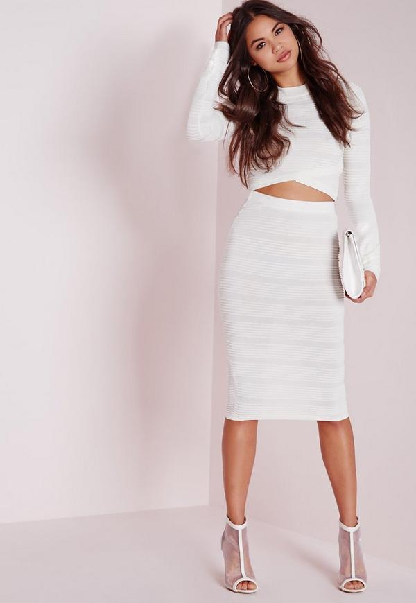 Knitted Rib Midi Skirt White