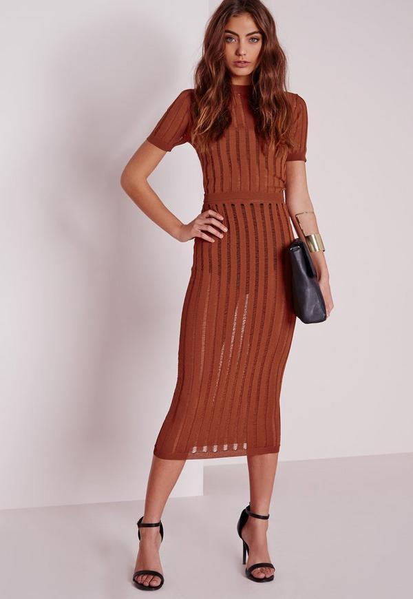 Sheer Stripe Midi Skirt Tan