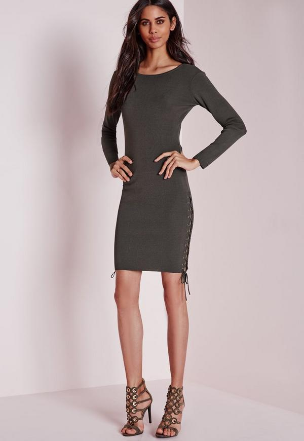 Lace Up Side Mini Dress Grey