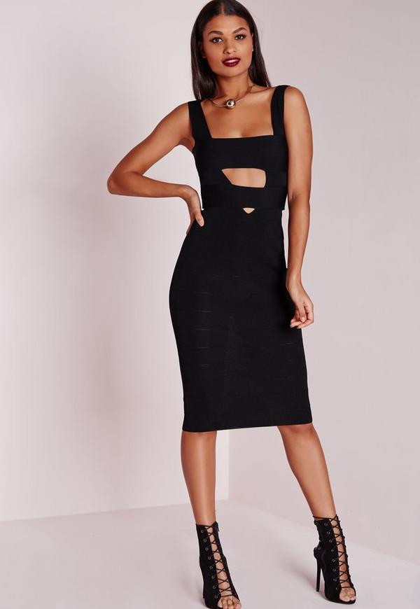 Plunge Bandage Midi Dress Black