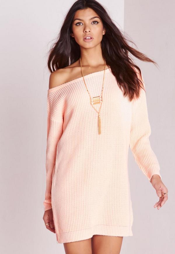 Off Shoulder Knitted Jumper Dress Pink | Missguided