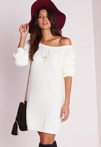 Off Shoulder Knitted Jumper Dress Cream Missguided