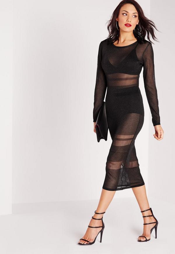 Deep V Back Sheer Midi Dress Metallic Black