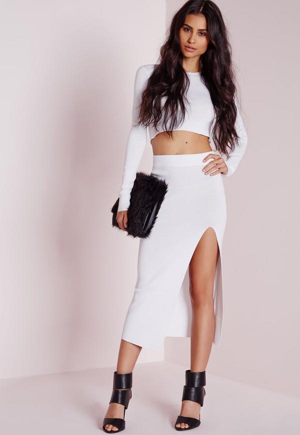 Thigh Split Crisp Midi Skirt White
