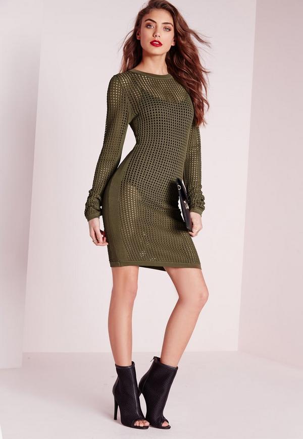 all over mesh knitted mini dress khaki