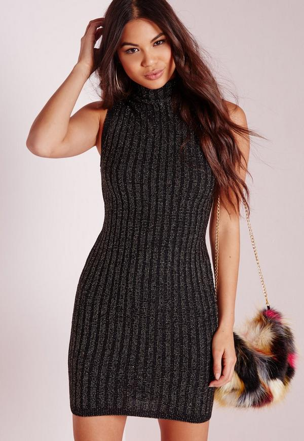High Neck Sparkly Knitted Dress Black