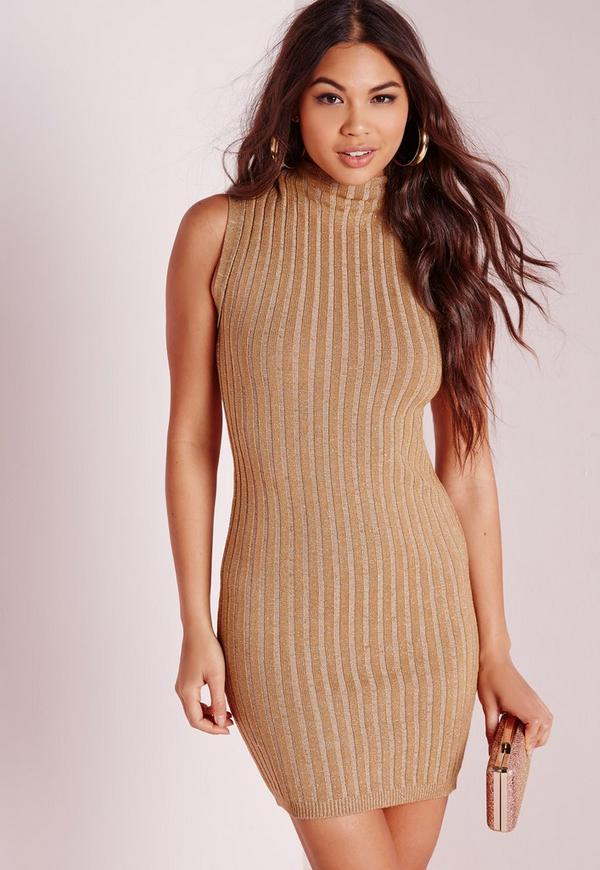 High Neck Rib Knitted Dress Camel
