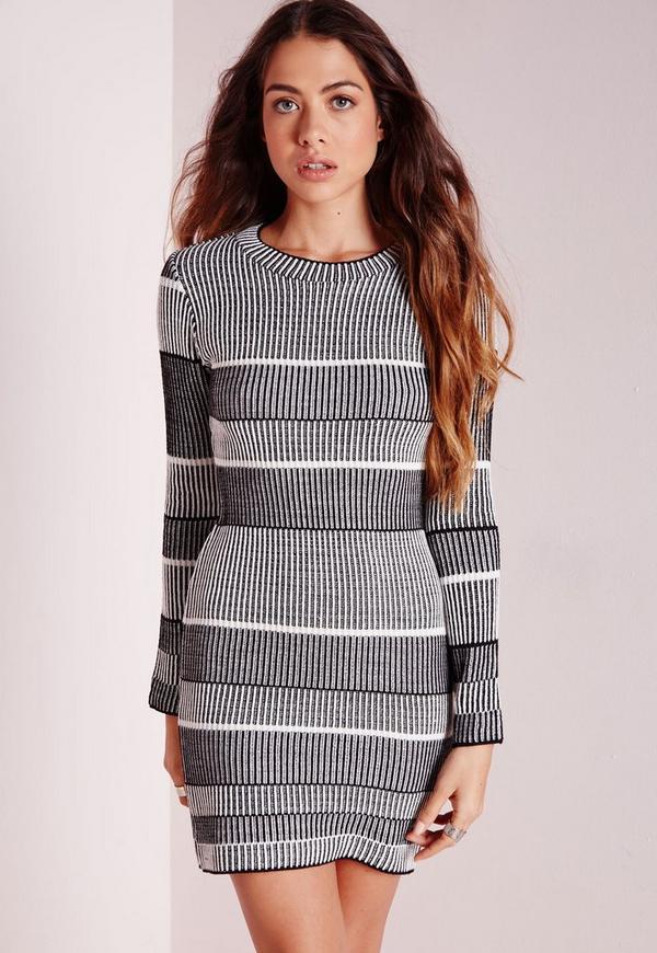 Mono Stripe Ribbed Knitted Dress Black