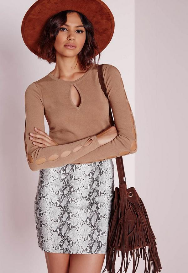Key Hole Sleeve Crop Jumper Camel
