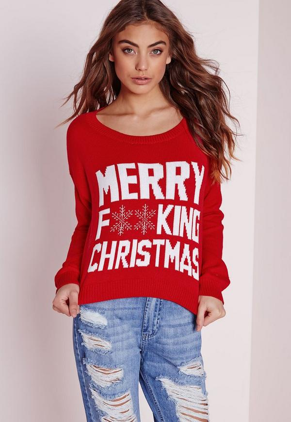 Merry Christmas Cropped Jumper Red