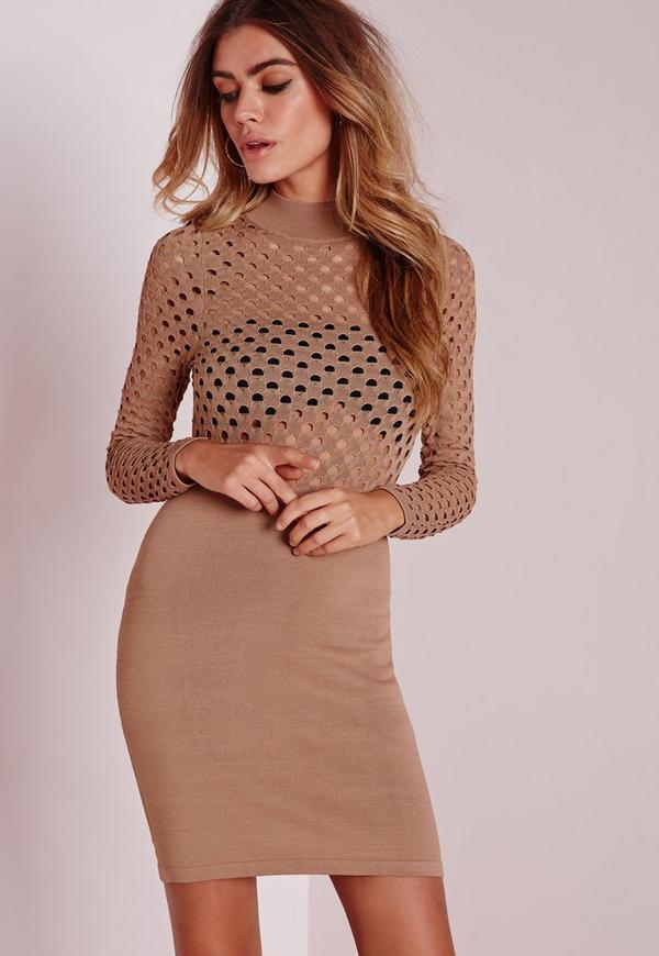 mesh top knitted mini dress camel