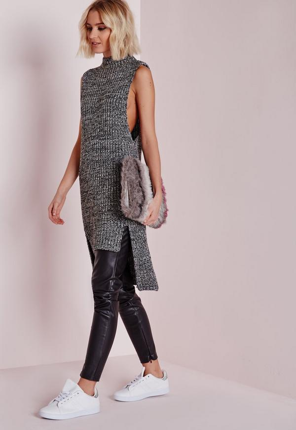 Sleeveless Funnel Neck Tunic Grey