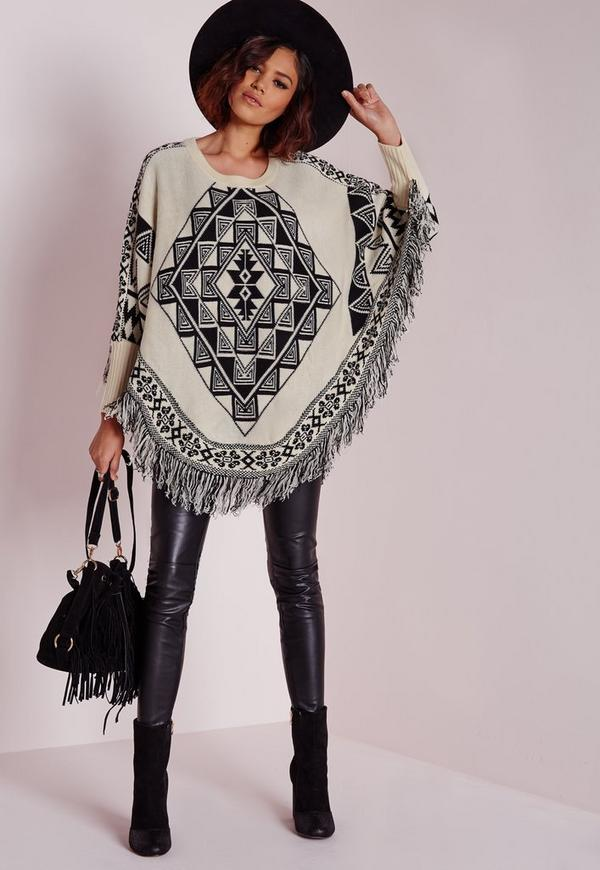 Aztec Fringed Poncho Cream