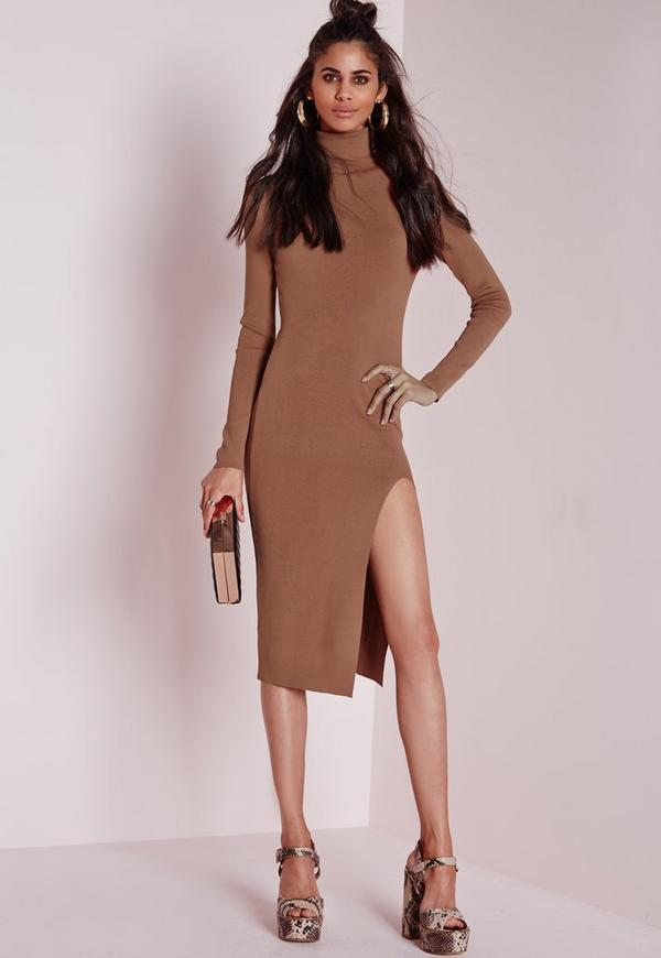 polo neck high split knitted midi dress tan